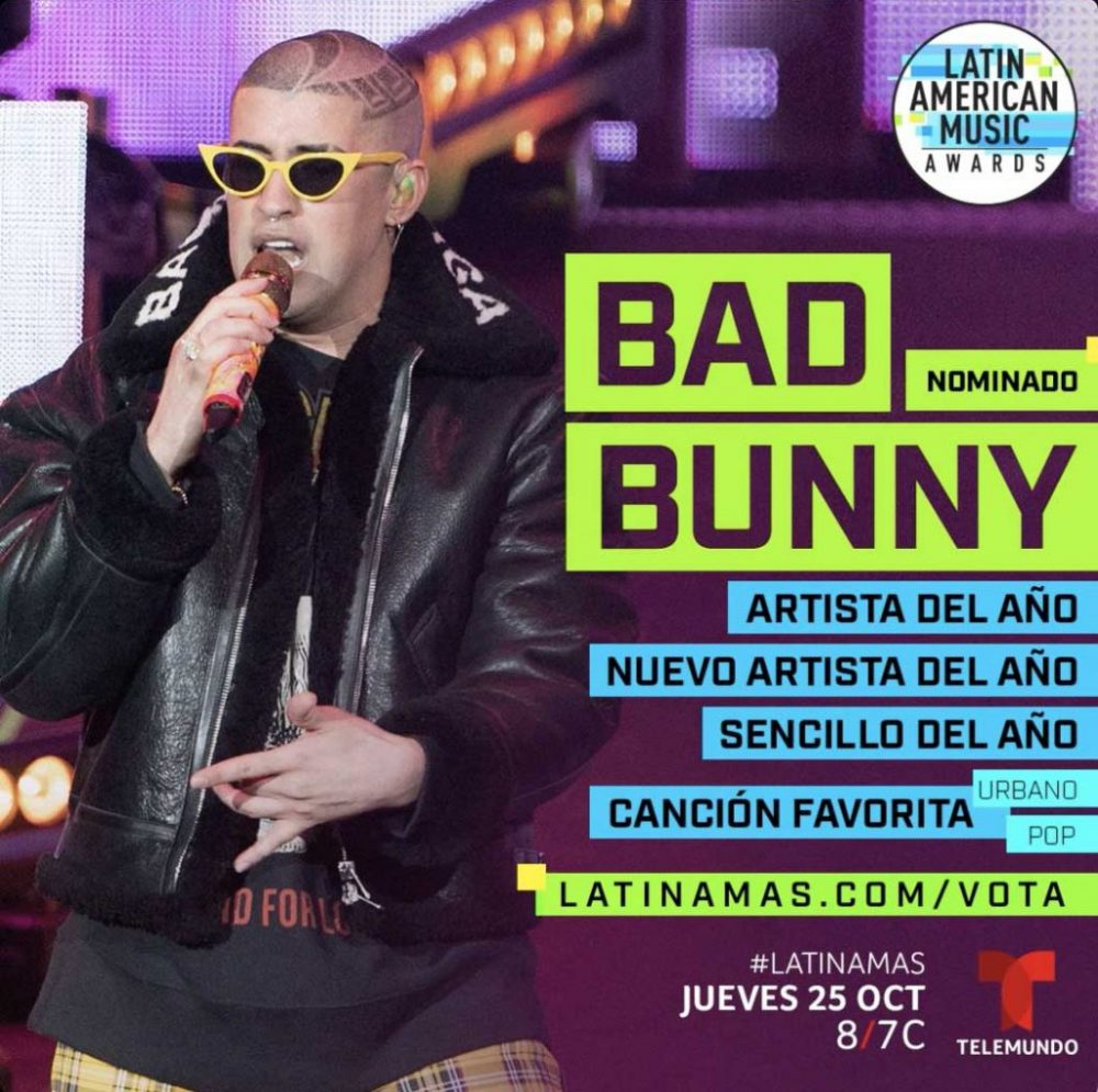 Bad Bunny recibe 5 nominaciones en los Latin American Music Awards 2018